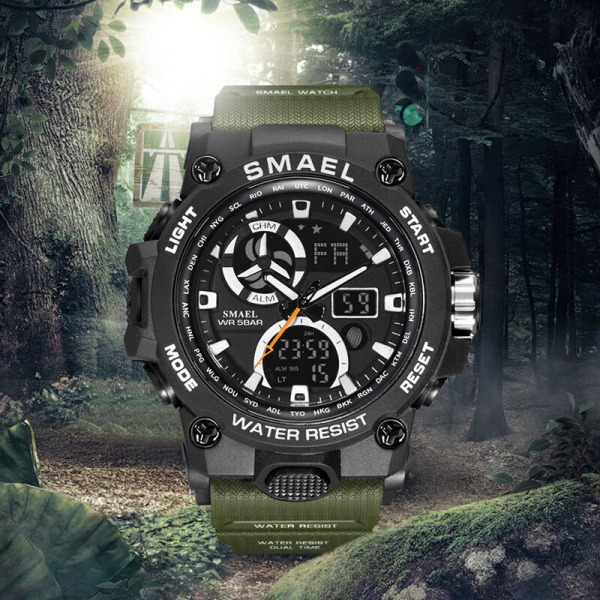 Ceas barbati Smael 8011, Army, Digital, Cronograf, Sport, Militar 4