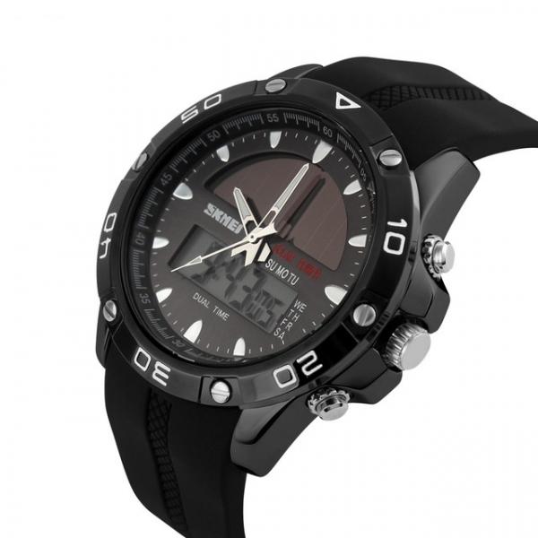 Ceas barbati Sport Solar Cronograf Dual Time Alarma Curea PU 1