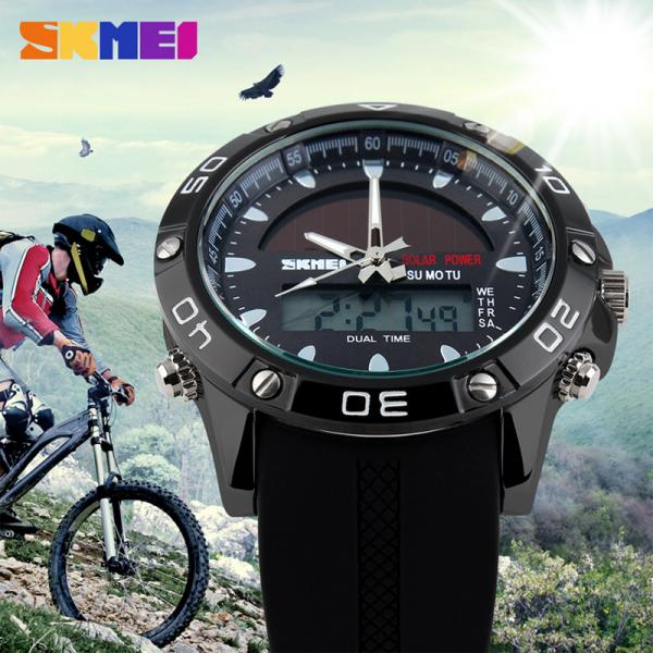 Ceas barbati Sport Solar Cronograf Dual Time Alarma Curea PU 2