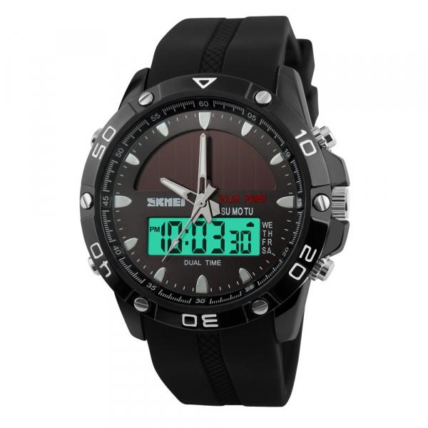 Ceas barbati Sport Solar Cronograf Dual Time Alarma Curea PU 0