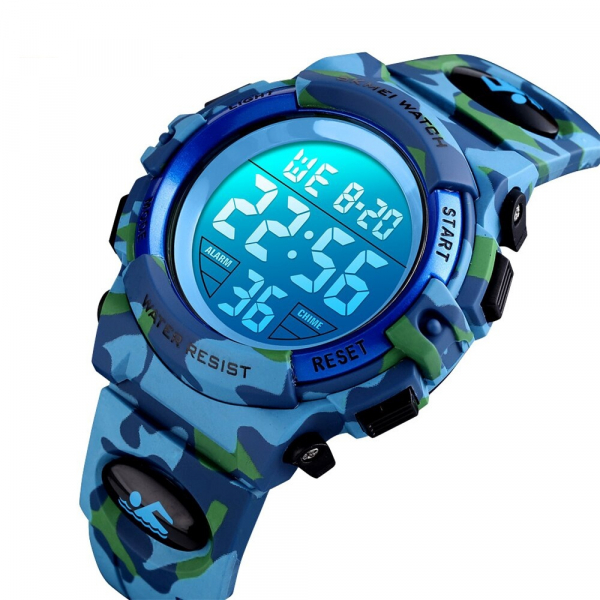 Ceas copii Skmei Digital Sport Army Alarma Cronometru 0
