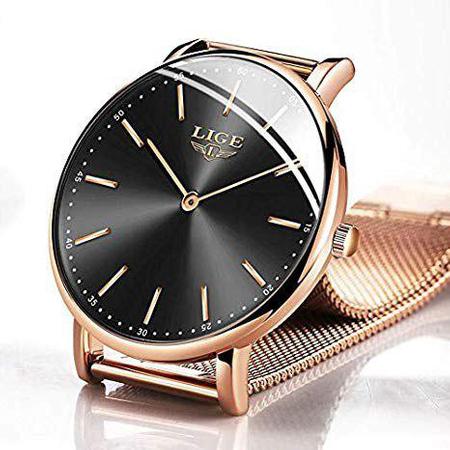 Ceas dama Lige, Elegant, Quartz, Luxury, Analog, Subtire, Otel inoxidabil, Auriu 3