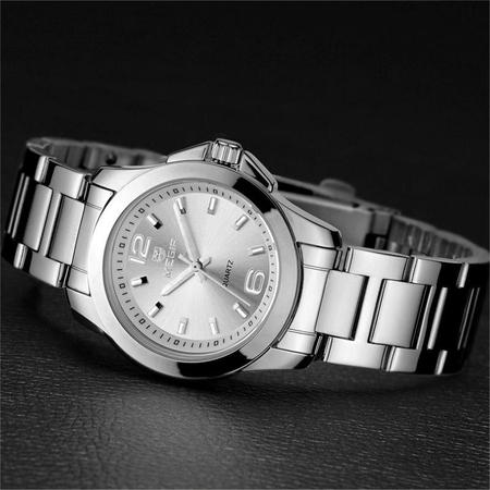 Ceas dama, Megir, Elegant, Clasic, Mecanism Quartz, Afisaj analog, Afisaj 24h, Ora / Minut / Secunda, Argintiu 3