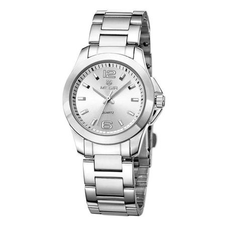 Ceas dama, Megir, Elegant, Clasic, Mecanism Quartz, Afisaj analog, Afisaj 24h, Ora / Minut / Secunda, Argintiu 0