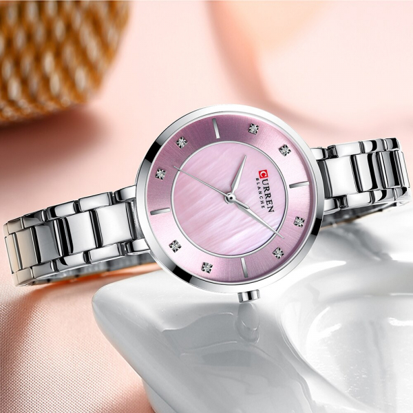 Ceas de dama original, Curren, Ceas pentru femei elegant, Quartz, Otel inoxidabil 3