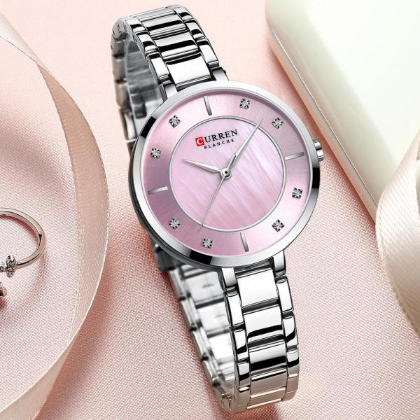 Ceas de dama original, Curren, Ceas pentru femei elegant, Quartz, Otel inoxidabil 4