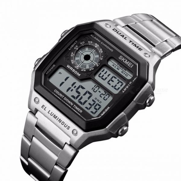 Ceas de mana barbatesc Casual Digital Alarma Cronograf Otel inoxidabil [3]