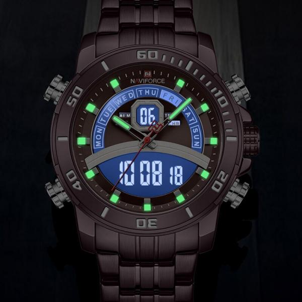 Ceas de mana barbatesc Casual Naviforce Dual Time Cronograf Quartz Otel inoxidabil [6]