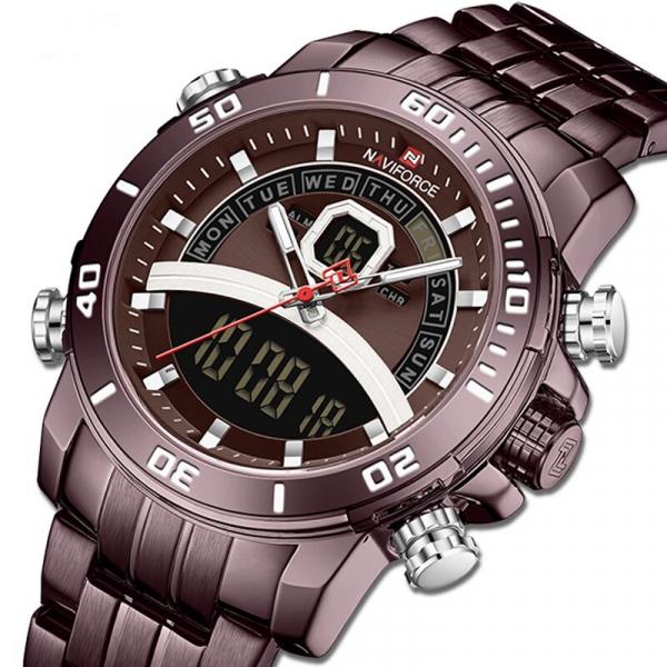 Ceas de mana barbatesc Casual Naviforce Dual Time Cronograf Quartz Otel inoxidabil [1]