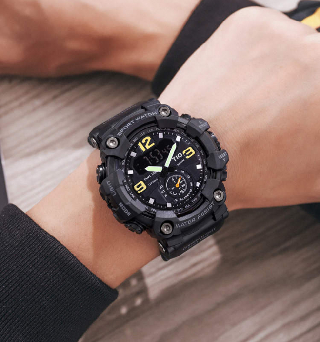 Ceas barbatesc Militar TIO Digital Sport Army Cronograf Rezistent la socuri si apa 3