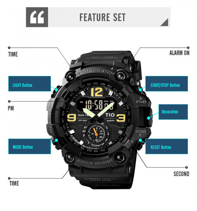 Ceas barbatesc Militar TIO Digital Sport Army Cronograf Rezistent la socuri si apa 4