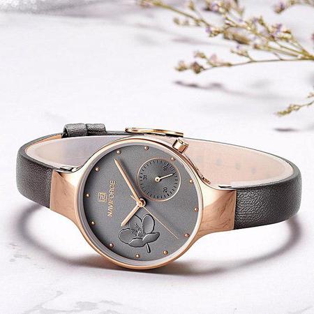 Ceas de mana dama, Casual, Elegant, Fashion Naviforce, mecanism Quartz Seiko, curea din piele naturala 4