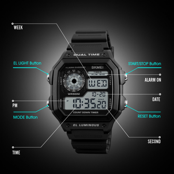 Ceas de mana pentru barbati Casual Cronograf Alarma Otel inoxidabil 2