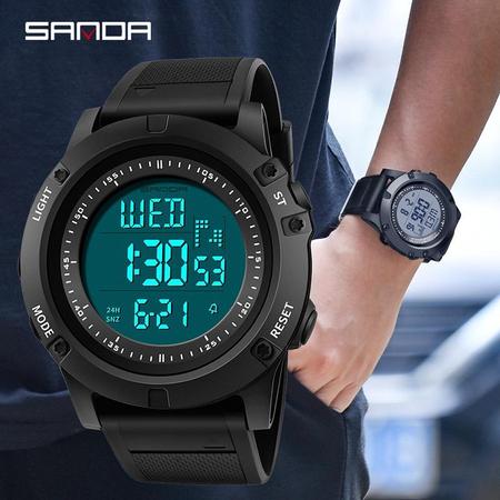 Ceas digital, Sanda, Shock Resistant, Baterie Maxell, Cronometru, Cronograf, Alarma 2
