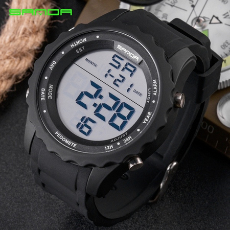 Ceas digital, Sanda, Sport, Display LED, Baterie Maxell, Calendar, Alarma, Cronograf 6