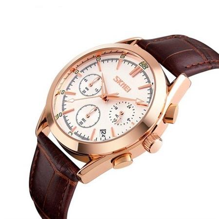 Ceas elegant, Skmei 9127, Quartz, Curea din piele naturala 0