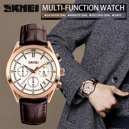 Ceas elegant, Skmei 9127, Quartz, Curea din piele naturala 5