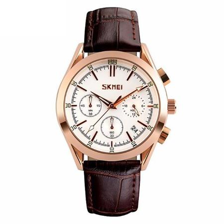 Ceas elegant, Skmei 9127, Quartz, Curea din piele naturala 1