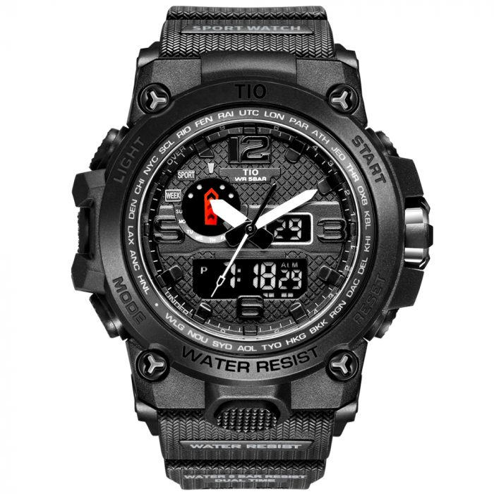 Ceas Militar TIO Cronograf Digital Quartz Analog Sport Army Rezistent la socuri si apa Negru [0]