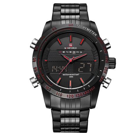 Ceas Naviforce clasic multifunctional, rezistent la apa 5Bar, mecanism Quartz, afisaj digital si analogic, alarma si cronometru 1