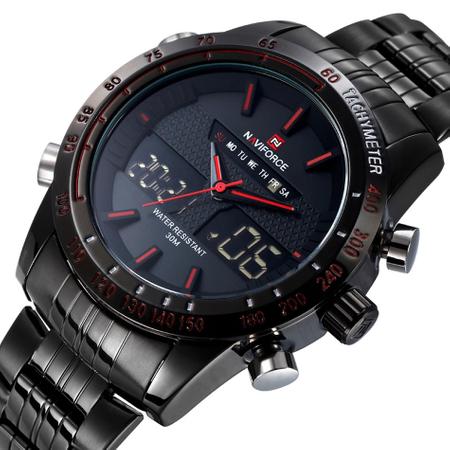 Ceas Naviforce clasic multifunctional, rezistent la apa 5Bar, mecanism Quartz, afisaj digital si analogic, alarma si cronometru 2