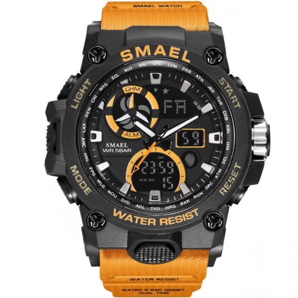 Ceas pentru barbati Smael 8011. Miltar, Dual time, Cronograf, Army, Digital, Rezistent la apa si socuri 0