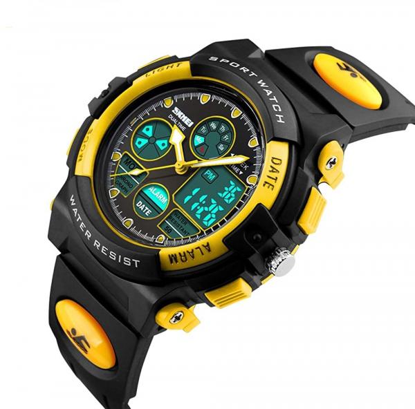 Ceas pentru copii, Sport, Dual-Time, Casual, Quartz, Curea din PU 0