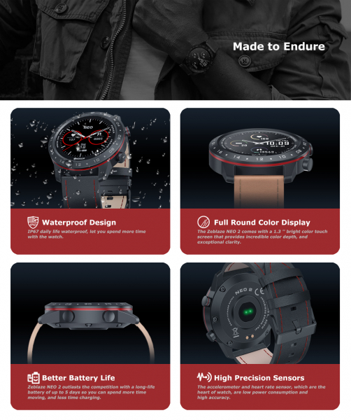 Ceas smartwatch, Inteligent, Zeblaze, Monitorizare sanatate & fitness, Bluetooth 5.0 Android/IOS 12