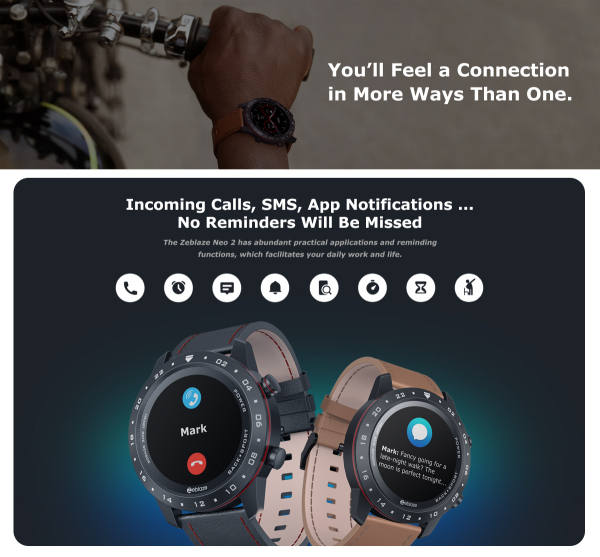 Ceas smartwatch, Inteligent, Zeblaze, Monitorizare sanatate & fitness, Bluetooth 5.0 Android/IOS 8