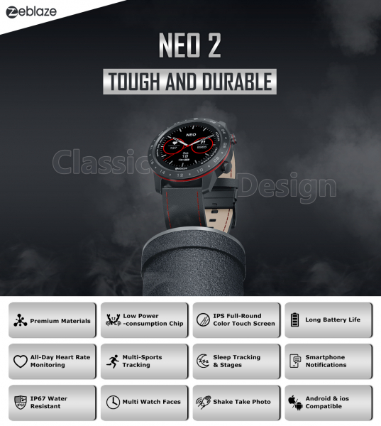 Ceas smartwatch, Inteligent, Zeblaze, Monitorizare sanatate & fitness, Bluetooth 5.0 Android/IOS 14