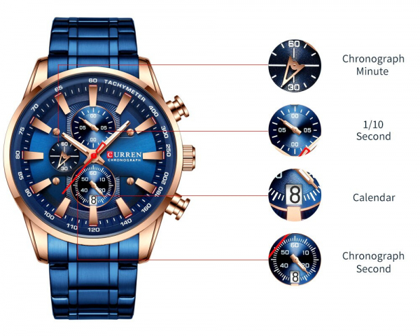 Curren Top Brand, Ceas barbatesc casual, Luxury, Otel inoxidabil, Cronograf, Quartz 2