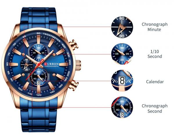 Curren Top Brand, Ceas barbatesc casual, Luxury, Otel inoxidabil, Cronograf, Quartz 7