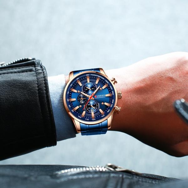 Curren Top Brand, Ceas barbatesc casual, Luxury, Otel inoxidabil, Cronograf, Quartz 5