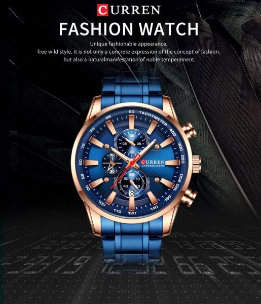 Curren Top Brand, Ceas barbatesc casual, Luxury, Otel inoxidabil, Cronograf, Quartz 3