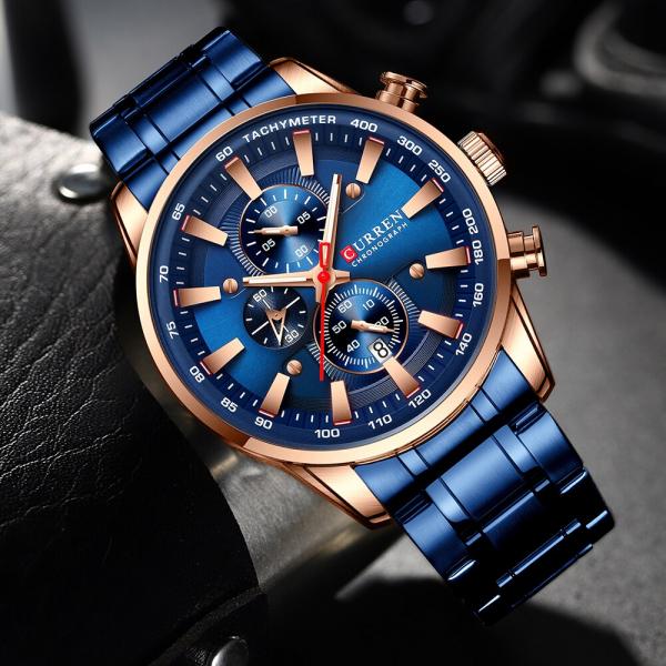 Curren Top Brand, Ceas barbatesc casual, Luxury, Otel inoxidabil, Cronograf, Quartz 4