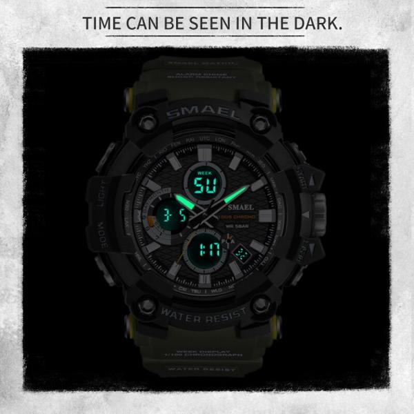 Smael Ceas barbatesc Army Cronograf Dual Time Militar Rezistent la socuri si apa 1