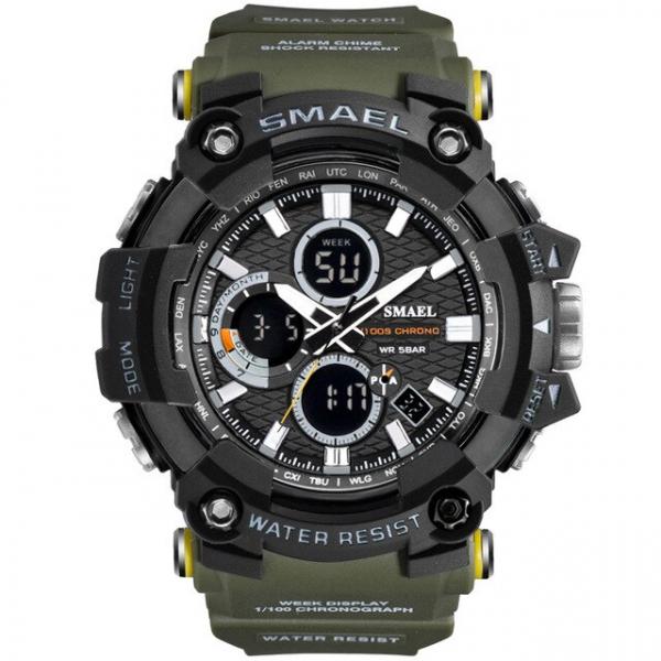 Smael Ceas barbatesc Army Cronograf Dual Time Militar Rezistent la socuri si apa 0