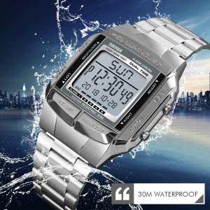 Ceas barbatesc Casual Cronograf Digital LED Alarma Otel inoxidabil2