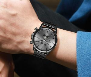 Ceas Barbatesc Cronograf Elegant Analog Quartz Otel inoxidabil3