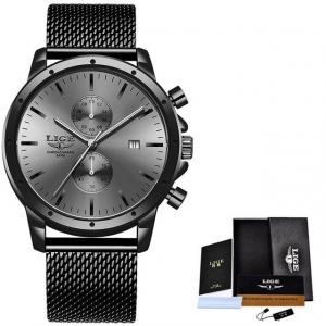 Ceas Barbatesc Cronograf Elegant Analog Quartz Otel inoxidabil1
