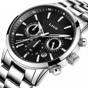 Ceas barbatesc Cronograf Quartz Otel inoxidabil Business Elegant0