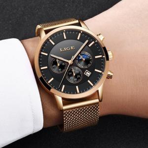 Ceas barbatesc, Lige, Elegant, Luxury, Business, Mecanism Quartz, Cronograf, Otel inoxidabil [6]