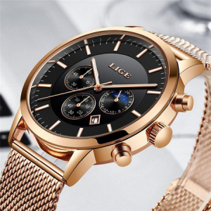 Ceas barbatesc, Lige, Elegant, Luxury, Business, Mecanism Quartz, Cronograf, Otel inoxidabil [7]