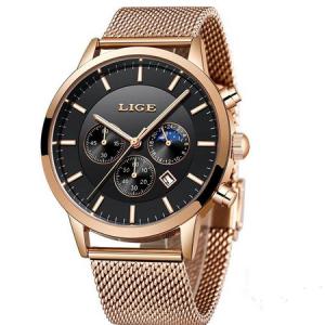Ceas barbatesc, Lige, Elegant, Luxury, Business, Mecanism Quartz, Cronograf, Otel inoxidabil [0]