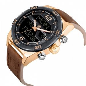 Ceas barbatesc, Naviforce, Dual Time, Digital, Cronograf, Elegant, Curea din piele naturala, Mecanism Quartz2