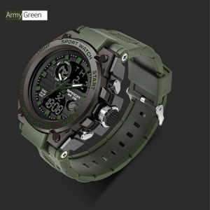 Ceas barbatesc, Sanda, Militar, Dual-time, SHOCK Resistant, Mecanism Quartz, Analog, Digital, Casual, Sport, Cronometru, Alarma, Army Green2