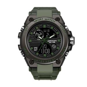Ceas barbatesc, Sanda, Militar, Dual-time, SHOCK Resistant, Mecanism Quartz, Analog, Digital, Casual, Sport, Cronometru, Alarma, Army Green1