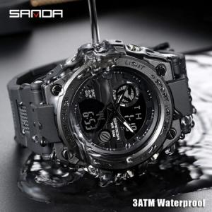 Ceas barbatesc, Sanda, SHOCK, Mecanism Quartz Japonez, Analog, Dual Time, Digital, Casual, Sport, Cronometru, Alarma2