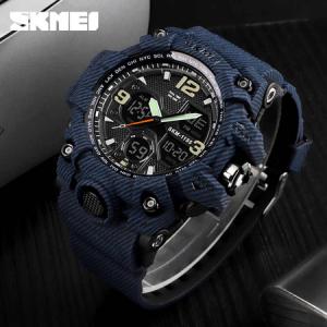 Ceas barbatesc Skmei, Militar, Shock Resistant, Digital, Sport, Army, Dual time, Cronograf3