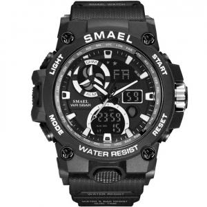 Ceas barbatesc Smael 8011. Miltar, Dual time, Cronograf, Digital, Rezistent la apa si socuri0